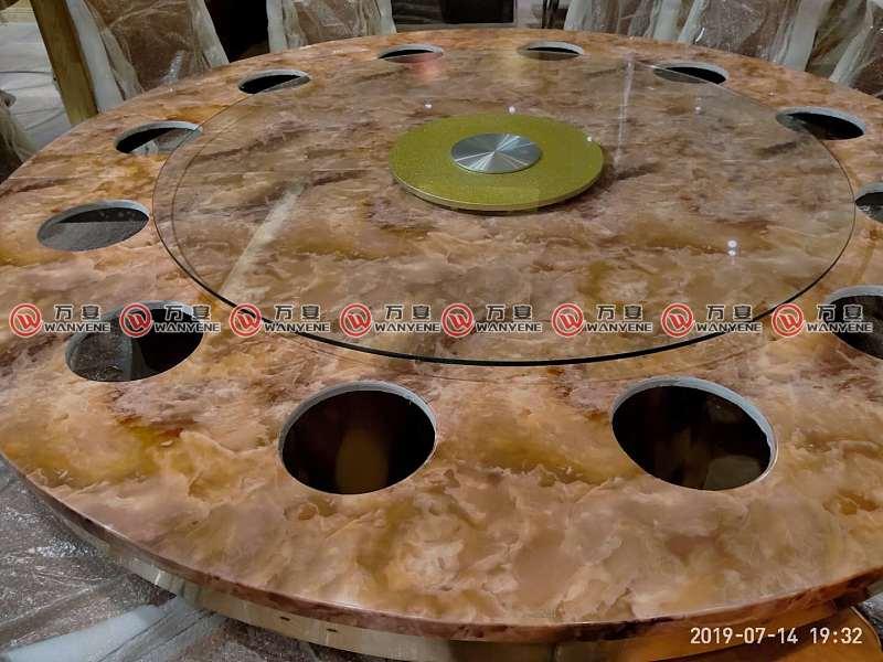 大牛火锅-大理石圆形火锅桌