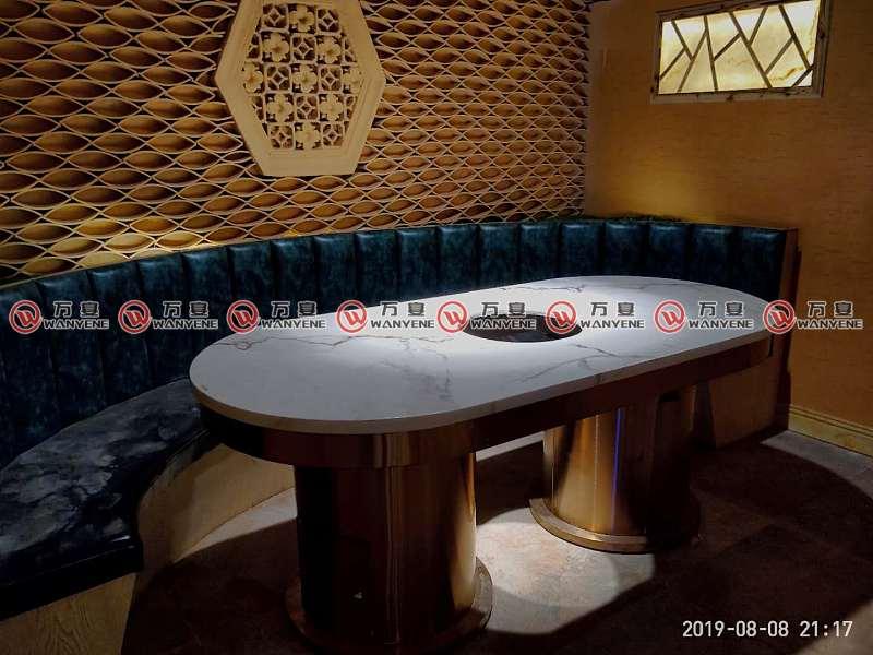 椭圆形大理石火锅桌